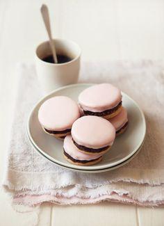 neapolitan - strawberry-glazed, fudge-stuffed cookie sandwich.