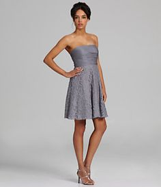 JS Collections Bridesmaid Strapless Lace-Skirt Dress | Dillard's Mobile