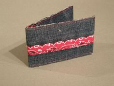Denim business/credit card holder with Bandana trim (View 1)