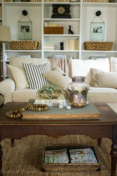 Simple summer decorating, neutral textures, bookshelves, mix of old and new - Rustic & Woven
