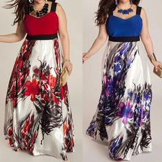 e8808b922c Fashion Plus Size Floral Sleeveless Beach Womens Long Dress Maxi Dress L-5XL  US
