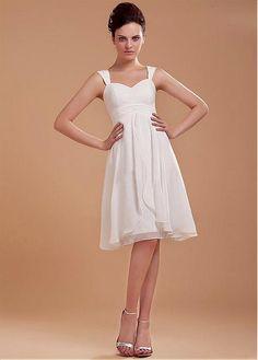 Shoulder Straps Sweetheart Chiffon Short Bridal Gown Wedding Dress For Rehearsal Dinner