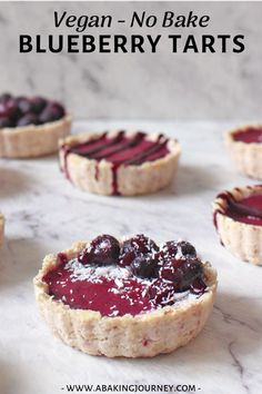 No Bake Mini Blueberry Tarts (Dairy Free, Soy Free, Vegan, Gluten Free). A delicious and super easy healthy snack that is a great healthy vegan dessert! Healthy Vegan Desserts, Healthy Sweet Treats, Raw Desserts, Tart Recipes, Healthy Dessert Recipes, Healthy Baking, Delicious Desserts, Vegan Baking, Paleo