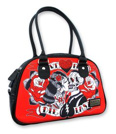 Liquor Brand 'Live fast, Die Last' tattoo skull roses rockabilly hand bag.    http://www.ebay.co.uk/itm/LIQUOR-BRAND-LIVE-FAST-DIE-LAST-BOWLING-BAG-SKULL-TATTOO-ROCKABILLY-PIN-UP-NEW-/330875111981?pt=UK_Women_s_Handbags=item4d09b18a2d