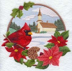 Country Christmas - Cardinal and Church design (F6228) from www.Emblibrary.com