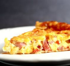 Crust less ham and cheese quiche.  Looks like an easy recipe!