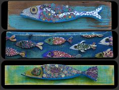 #wood and #pencils mosaic #fish, see more on my Fb page https://www.facebook.com/pages/Silvia-Logi-Artworks/121475337893535?ref=br_rs