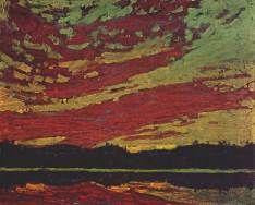 Tom Thomson, Sunset, 1915 | Impressionist Art | Art Ideas | Painting Ideas | Landscape Painting | Color Theory