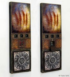 Universal Laws I Mixed Media Assemblage, Wax on Wood Panel © Yuko Ishii