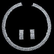 Silvertone Rhinestone 3-Row Choker Bridal Necklace Earrings 2-pcs Set