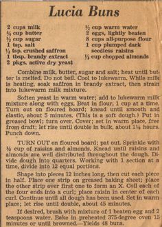 Recipe Clipping For Lucia Buns Norwegian Cuisine, Norwegian Recipes, Norwegian Food, Swedish Recipes, Scandinavian Almond Cake Recipe, Scandinavian Food, Old Recipes, Vintage Recipes, Cooking Recipes