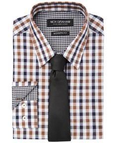 Objective Alfani Mens Performance Solid Button Up Dress Shirt Dress Shirts