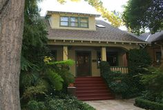 Sacramento Bungalow - This particular design is very popular in Sacramento - a very wide symmetrical porch, overhanging eaves, columns in front. You also see this in the American South quite a bit.