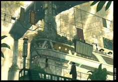 The Dream Arcade - Imperial boy - Teikoku Shounen Fantasy City, Fantasy Places, Fantasy World, Landscape Drawings, Landscape Art, Anime Sites, Arcade, Aesthetic Japan, Environment Concept