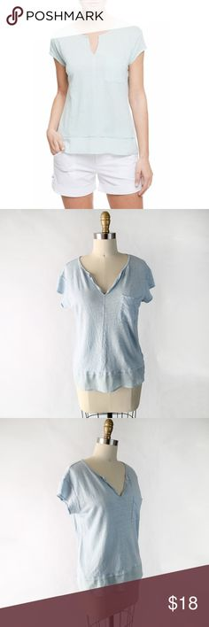 """Sanctuary City Mix Layered Look Linen Tee XS K021 A woven panel peeking out from the hem adds trendy layered illusion to a cute cap-sleeve tee cut from a breezy linen knit. A split neckline and chest pocket detail the casual design.  • Self: 100 linen / Contrast: 100 polyester • 18.5"""" armpit to armpit, 22"""" length • New with Nordstrom tag attached. Label removed to prevent store returns.  Offers welcome, no trades. Sanctuary Tops Tees - Short Sleeve"""