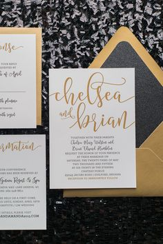 CHELSEA Suite Glitter Package, black and gold glitter wedding invitations, black tie wedding, glam wedding, ALL YOU NEED IS LOVE, brush script font for wedding invitations