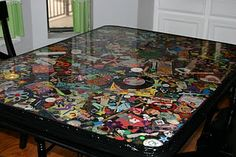 I Spy Table plastic coating on top Would like to this on a table in the MC...so fun!
