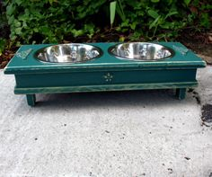 Green Shabby Chic Elevated Dog Bowl Pet Feeder - Medium Dogs and Cats - Made To Order. $58.00, via Etsy.