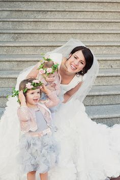 LOVE these little flower girls. Sottero and Midgley, custom alterations by The Brides' Shop.