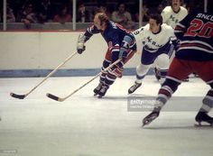 Bobby Hull #9 of the Winnipeg Jets skates with the puck during an WHA game against the Houston Aeros circa 1976 at the Summit in Houston, Texas.