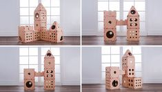 BOXKITTY modular cardboard cat house components let you customize the design.