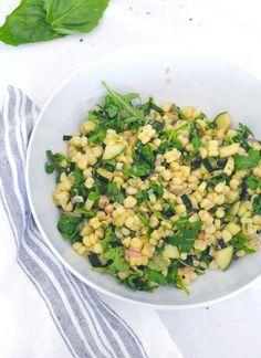 Corn & Arugula Salad - Harlowe James Arugula Salad Recipes, Corn Salad Recipes, Corn Salads, Baby Food Recipes, Cooking Recipes, Food Baby, Cold Corn Salad, Light And Easy Meals, Healthy Salads