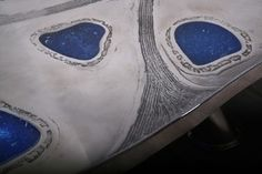 Arriau - Arts décoratifs - Coffee Table Lunaar in etched aluminium and fractal resin - Detail - www.arriau.com