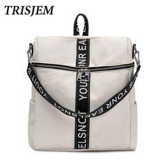 TRISJEM White Letter Backpack Women Backpacks For Adolescent Girls High  Quality School Backpack Female Travel Bagpack Casual Bag 5e5da7956a322