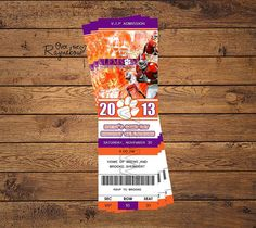 Clemson Ticket Invitation by RaynebowShoppe on Etsy, $1.00 Custom Birthday Invitations, Ticket Invitation, Arizona Tea, Clemson, Drinking Tea, Birthday Ideas, Party Ideas, Game, Handmade Gifts