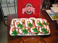 """""""Block O"""" Ohio State (OSU) Cookies - I got this cookie cutter at the Ohio State Fair.  I made the """"buckeyes"""" with a chocolate chip with a drop of melted Wilton chocolate melts in a tan color."""