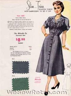 PDF Download - Collection of All 48 1950s Vintage Salesman Samples Sewing Room Decor, Sewing Rooms, 1940s Fashion, Vintage Fashion, 20th Century Fashion, New Print, Vintage Sewing Patterns, Day Dresses, 1950s