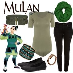 """""""Mulan"""" by fandom-wardrobes on Polyvore... nix the scarf and shoes, and add black combat boots, and this is so me."""