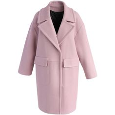 Chicwish Dainty Allure Wool-blend Coat in Pink (1.141.580 IDR) ❤ liked on Polyvore featuring outerwear, coats, pink, cropped coat, wool blend coat, fur-lined coats, leather-sleeve coats and pink coat