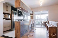 cozinha americana integrada projeto de arquitetura para apartamento bairro da saúde