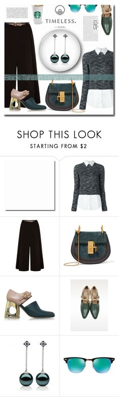 """""""Black Tahitian Pearl Earrings"""" by yinghe ❤ liked on Polyvore featuring Alice + Olivia, Yumi, Chloé, Marni and Ray-Ban"""