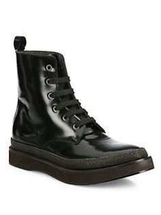 Brunello Cucinelli - Monili-Trim Patent Leather Lace-Up Boots