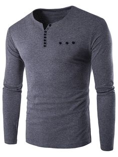 Notch Neck Button Embellished Long Sleeve T-Shirt #men, #hats, #watches, #belts, #fashion