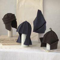 wool felt and textiles: Angelika Klose Hats Felt Hat, Wool Felt, Funny Hats, Crazy Hats, Hooded Scarf, Textiles, Wool Applique, Hat Making, Headgear