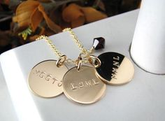 Three 5/8 14k Gold Filled Hand Stamped MOM or by auctionprincess, $74.00