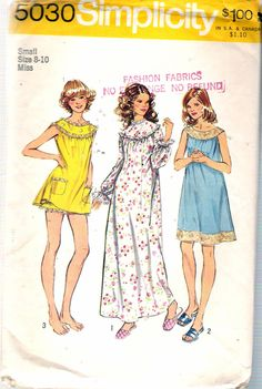 Vintage 1972 Simplicity 5030 Nightgown in Three Lengths with Bloomers  Sewing Pattern Size Small 8-10 Bust 31 1 2
