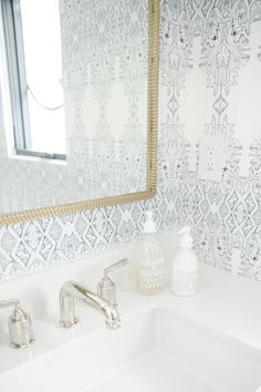 Powder Room with Wallpaper and soft accessories - Studio McGee Blog