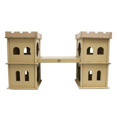 Tucker Murphy™ Pet Diggs Small Animal Hutch with Ramp & Reviews   Wayfair Cardboard Cat House, Cardboard Castle, Bunny Room, Cat Room, Cat Castle, Cat House Diy, Cat Enclosure, Cat Condo, Animal House
