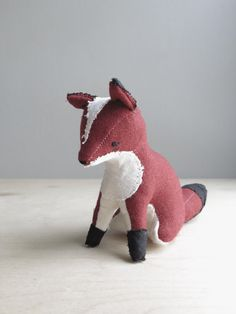 solitary red fox / soft sculpture animal by ohalbatross on Etsy, $78.00