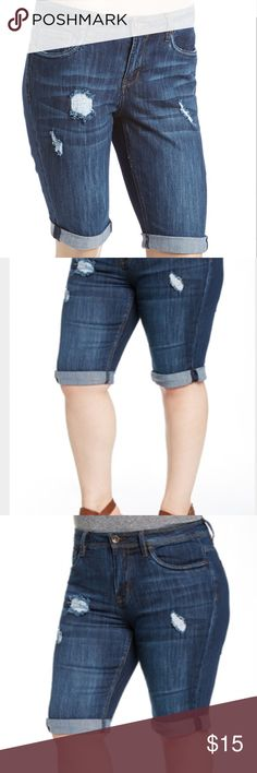 NWT- Beckham Cuff-Hem Bermuda Shorts - Plus NWT- Beckham Cuff-Hem Bermuda Shorts.           PRODUCT DESCRIPTION: A knee-grazing length gives these denim shorts an active-ready fit that's fashionable and functional. Dollhouse Jeans