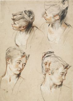 Watteau, 'Five Studies of a Woman's Head,  c.1716-17. Red, black and white chalks with two tones of red chalk, red wash and highlights using white gouache on cream paper.  British Museum, London, inv. 1895-9-15-941.