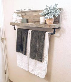 Large Towel Holder Towel Rack Bathroom Decor Towel Rack image 1 Informations About Your place to buy Diy Bathroom, Kitchen Towel Holder, Home Projects, Home Remodeling, Cheap Home Decor, Small Bathroom Decor, Home Decor, Home Diy, Bathroom Decor