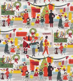 retro style christmas fabric - Vintage Christmas Fabric
