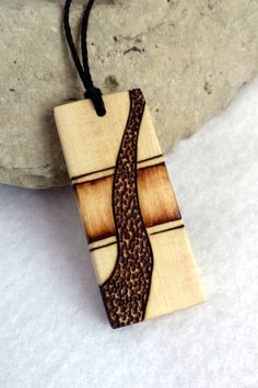 Mens Design Wood Pendant Rectangle Wooden Necklace hand made by Vic at SepiaTree, $24.00