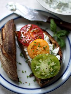 tomatoes goat cheese sandwich...mmmm Heirloom tomato and mozzarella salad too....craving tomatoes
