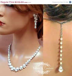 Bridal jewelry set Bridal back drop bib by BijouxandCouture, $103.50
